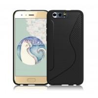 Силиконовый матовый непрозрачный чехол с нескользящими гранями и дизайнерской текстурой S для Huawei Honor 9  Черный