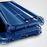 Силиконовый глянцевый транспарентный чехол с усиленными углами для Huawei Honor 9  Синий