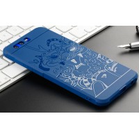 Силиконовый матовый непрозрачный чехол с нескользящим софт-тач покрытием и текстурным покрытием Дракон для Huawei Honor 9  Синий