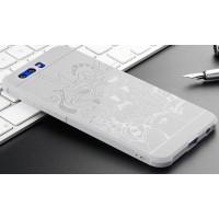 Силиконовый матовый непрозрачный чехол с нескользящим софт-тач покрытием и текстурным покрытием Дракон для Huawei Honor 9  Белый