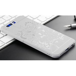 Силиконовый матовый непрозрачный чехол с нескользящим софт-тач покрытием и текстурным покрытием Дракон для Huawei Honor 9 Серый