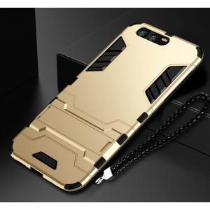 Противоударный двухкомпонентный силиконовый матовый непрозрачный чехол с поликарбонатными вставками экстрим защиты с встроенной ножкой-подставкой для Huawei Honor 9