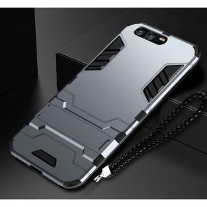 Силиконовый матовый непрозрачный чехол с поликарбонатными вставками экстрим защиты с встроенной ножкой-подставкой для Huawei Honor 9 Серый