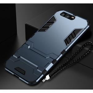 Силиконовый матовый непрозрачный чехол с поликарбонатными вставками экстрим защиты с встроенной ножкой-подставкой для Huawei Honor 9