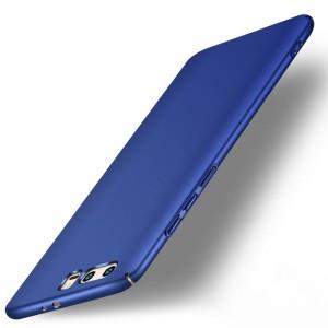 Пластиковый непрозрачный матовый чехол с допзащитой торцов для Huawei Honor 9 Синий