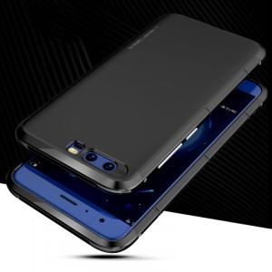Пластиковый противоударный чехол из с металлическими вставками экстрим защиты на винтах для Huawei Honor 9 Черный