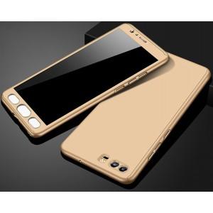 Пластиковый непрозрачный матовый чехол сборного типа с улучшенной защитой элементов корпуса для Huawei Honor 9 Бежевый