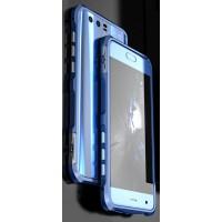 Металлический округлый бампер на пряжке для Huawei Honor 9  Синий