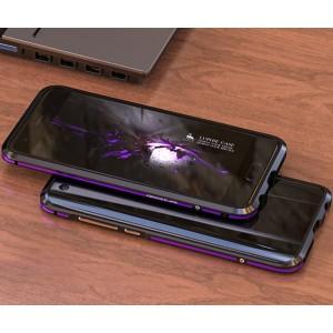 Металлический округлый двухцветный премиум бампер сборного типа на винтах для Huawei Honor 9  Фиолетовый