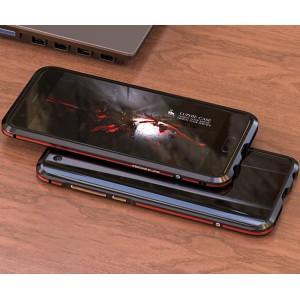 Металлический округлый двухцветный премиум бампер сборного типа на винтах для Huawei Honor 9  Красный