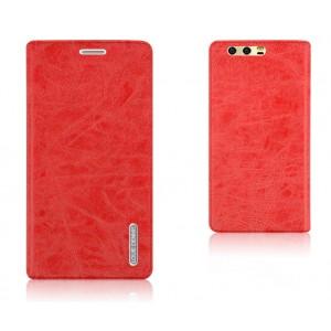 Винтажный чехол портмоне подставка текстура Узоры на силиконовой основе с отсеком для карт для Huawei Honor 9  Красный