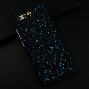 Пластиковый непрозрачный матовый чехол текстура Звезды для Huawei Honor 9 Голубой