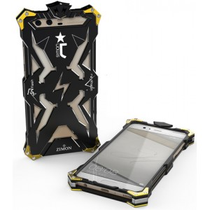 Цельнометаллический противоударный чехол из авиационного алюминия на винтах с мягкой внутренней защитной прослойкой для гаджета с прямым доступом к разъемам для Huawei Honor 9 Черный