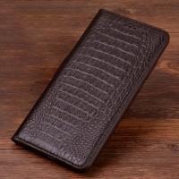 Кожаный чехол горизонтальная книжка подставка (премиум нат. кожа крокодила) для Huawei Honor 9  Коричневый