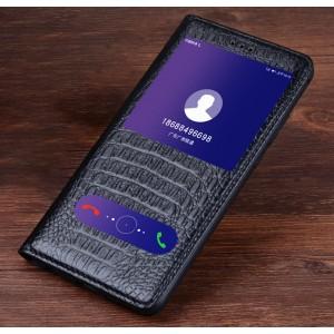 Кожаный чехол горизонтальная книжка подставка (премиум нат. кожа крокодила) (Полоса свайпа и окно вызова) для Huawei Honor 9  Черный