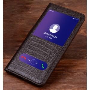 Кожаный чехол горизонтальная книжка подставка (премиум нат. кожа крокодила) (Полоса свайпа и окно вызова) для Huawei Honor 9  Коричневый