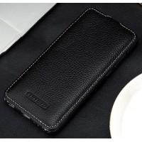 Кожаный чехол вертикальная книжка (премиум нат. кожа) для Huawei Honor 9 Черный