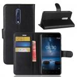 Чехол портмоне подставка на силиконовой основе с отсеком для карт на магнитной защелке для Nokia 8