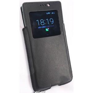 Гладкий кожаный мешок с окном вызова для BlackBerry KEYone