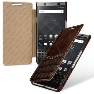 Кожаный чехол горизонтальная книжка (2 вида премиум нат. кожи) для BlackBerry KEYone  Коричневый