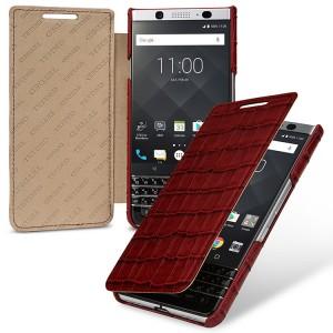 Кожаный чехол горизонтальная книжка (премиум нат. кожа крокодила) для BlackBerry KEYone