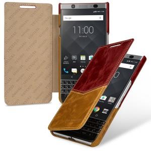 Кожаный чехол горизонтальная книжка (премиум нат. вощеная кожа) для BlackBerry KEYone
