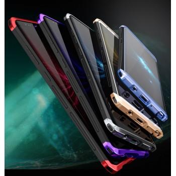 Металлический округлый двухцветный премиум бампер сборного типа закаленным защитным стеклом для Samsung Galaxy Note 8