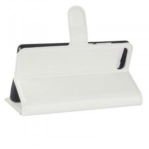 Чехол портмоне подставка на силиконовой основе с отсеком для карт на магнитной защелке для Doogee Mix  Белый