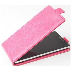 Чехол вертикальная книжка на клеевой основе на магнитной защелке для Elephone S8  Розовый