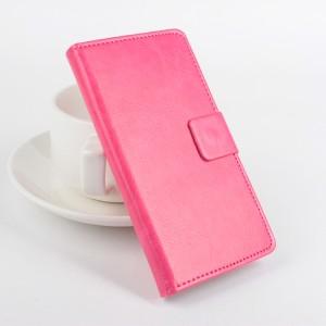 Чехол горизонтальная книжка подставка на клеевой основе с отсеком для карт на магнитной защелке для Doogee BL7000  Розовый