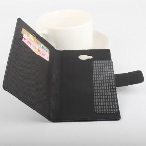 Чехол горизонтальная книжка подставка на клеевой основе с отсеком для карт на магнитной защелке для Doogee BL7000  Черный