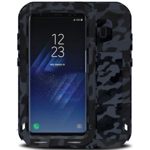 Эксклюзивный многомодульный ультрапротекторный пылевлагозащищенный ударостойкий нескользящий чехол алюминиево-цинковый сплав/силиконовый полимер текстура Камуфляж для Samsung Galaxy S8 Plus