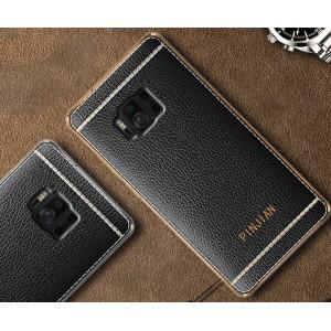 Силиконовый матовый непрозрачный чехол с текстурным покрытием Кожа для ASUS ZenFone AR  Черный