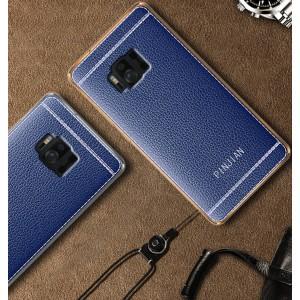 Силиконовый матовый непрозрачный чехол с текстурным покрытием Кожа для ASUS ZenFone AR  Синий