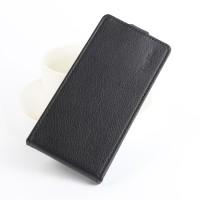 Чехол вертикальная книжка на силиконовой основе с отсеком для карт на магнитной защелке для ZTE Blade V8  Черный