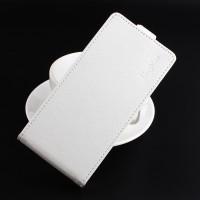 Чехол вертикальная книжка на силиконовой основе с отсеком для карт на магнитной защелке для ZTE Blade V8  Белый