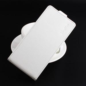 Чехол вертикальная книжка на силиконовой основе с отсеком для карт на магнитной защелке для Asus ZenFone 4 Max  Белый