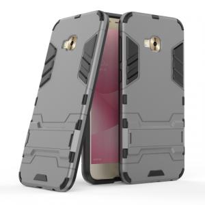 Противоударный двухкомпонентный силиконовый матовый непрозрачный чехол с поликарбонатными вставками экстрим защиты с встроенной ножкой-подставкой для ASUS ZenFone 4 Selfie Pro Серый
