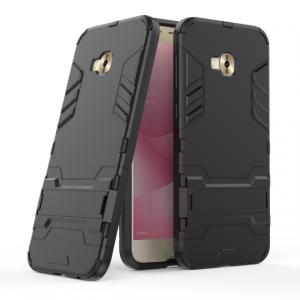 Противоударный двухкомпонентный силиконовый матовый непрозрачный чехол с поликарбонатными вставками экстрим защиты с встроенной ножкой-подставкой для ASUS ZenFone 4 Selfie Pro Черный