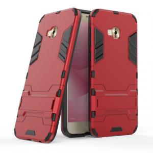 Противоударный двухкомпонентный силиконовый матовый непрозрачный чехол с поликарбонатными вставками экстрим защиты с встроенной ножкой-подставкой для ASUS ZenFone 4 Selfie Pro Красный