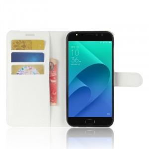 Чехол портмоне подставка на силиконовой основе с отсеком для карт на магнитной защелке для ASUS ZenFone 4 Selfie Pro  Белый