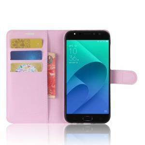 Чехол портмоне подставка на силиконовой основе с отсеком для карт на магнитной защелке для ASUS ZenFone 4 Selfie Pro  Розовый