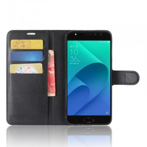 Чехол портмоне подставка на силиконовой основе с отсеком для карт на магнитной защелке для ASUS ZenFone 4 Selfie Pro  Черный