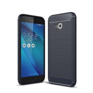 Силиконовый матовый непрозрачный дизайнерский фигурный чехол текстура Металлик для ASUS ZenFone 4 Selfie Pro  Синий