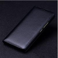 Кожаный чехол горизонтальная книжка (премиум нат. кожа) для Meizu Pro 6 Plus Черный