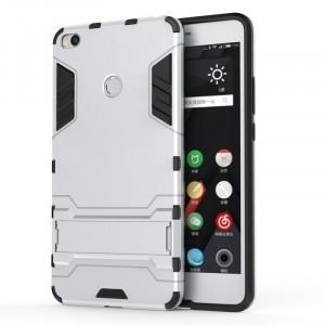 Противоударный двухкомпонентный силиконовый матовый непрозрачный чехол с поликарбонатными вставками экстрим защиты с встроенной ножкой-подставкой для Xiaomi Mi Max 2 Белый