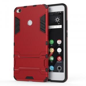 Противоударный двухкомпонентный силиконовый матовый непрозрачный чехол с поликарбонатными вставками экстрим защиты с встроенной ножкой-подставкой для Xiaomi Mi Max 2 Красный