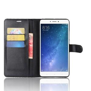Чехол портмоне подставка на силиконовой основе на магнитной защелке для Xiaomi Mi Max 2  Черный