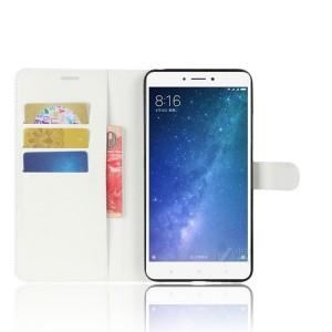 Чехол портмоне подставка на силиконовой основе на магнитной защелке для Xiaomi Mi Max 2  Белый