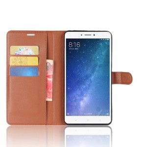 Чехол портмоне подставка на силиконовой основе на магнитной защелке для Xiaomi Mi Max 2  Коричневый